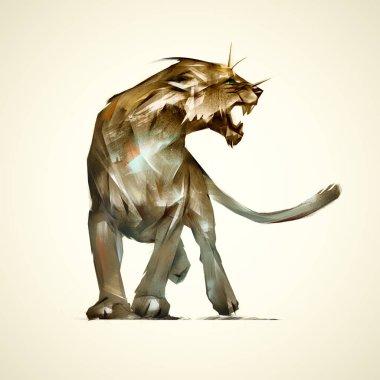 Sketch grin predatory animal lioness stock vector