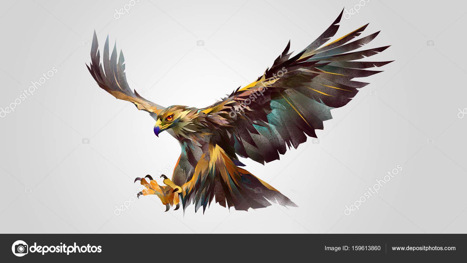 Painted attacking bird eagle — Stock Photo © khius #159613860