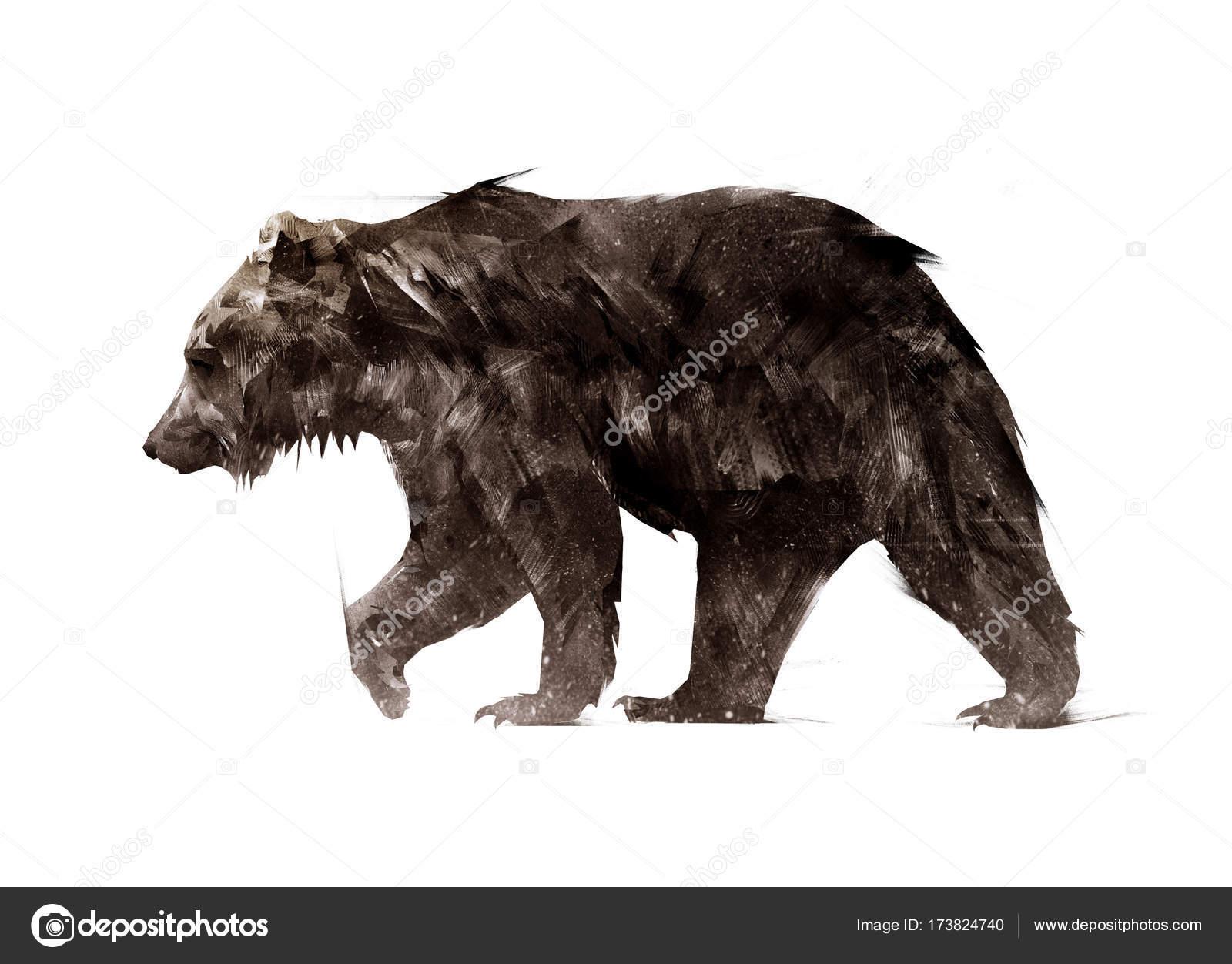 Farbe gemalt eine walking Tier Bär Seite — Stockfoto © khius #173824740