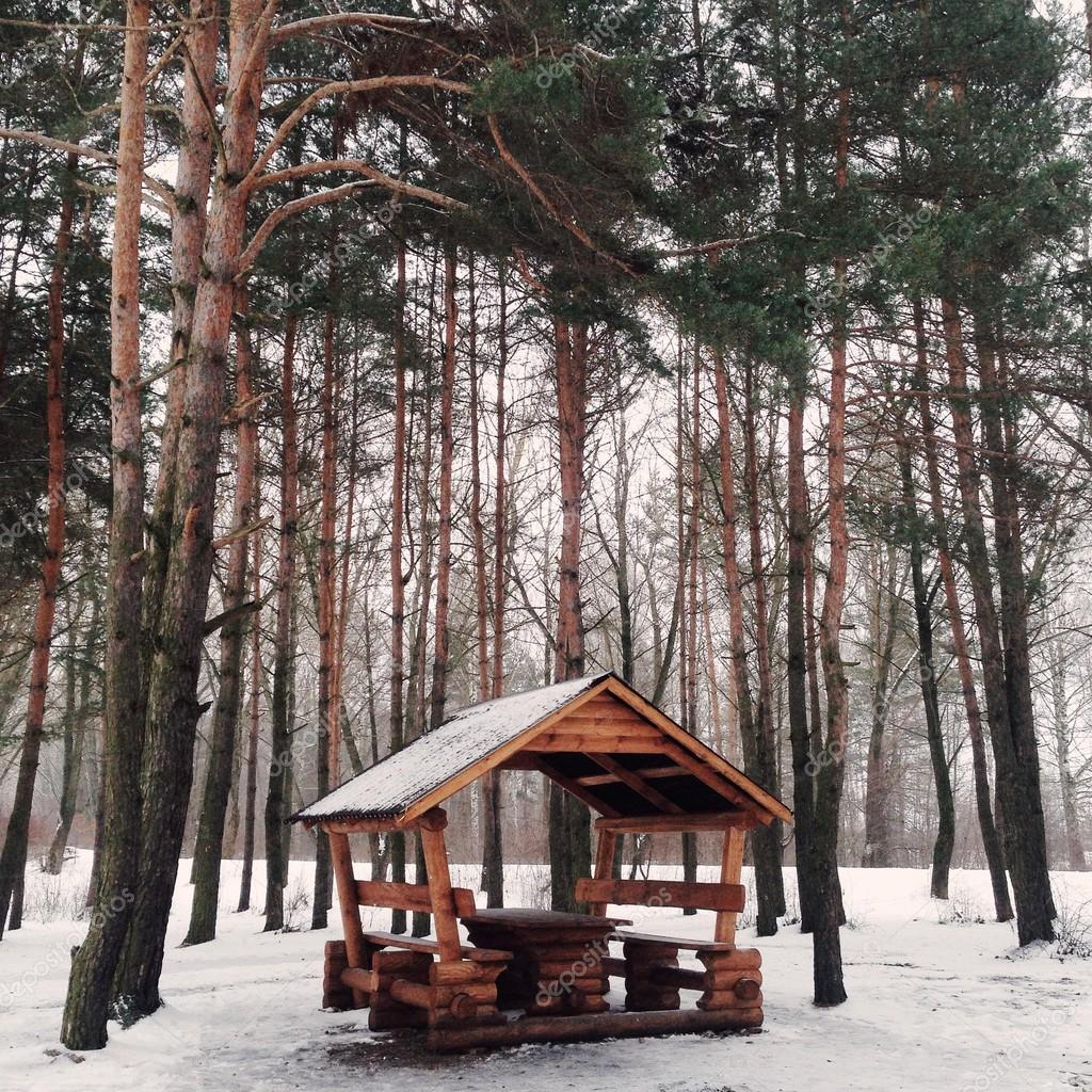 Small wooden arbor in winter forest