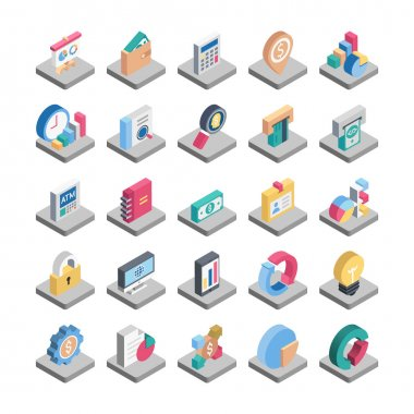 Finance Isometric Colored Vector Icons