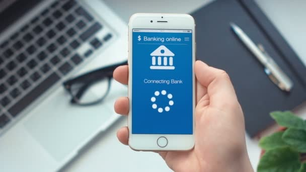 Connecting to the bank account on banking app on the smartphone