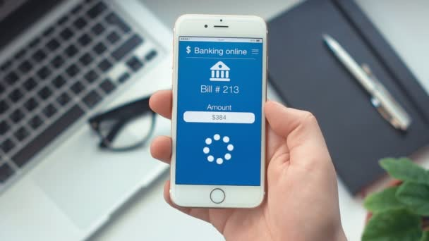 Paying bill on app on bankingthe smartphone