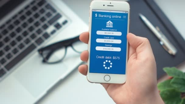 Paying credit debt on app on banking the smartphone