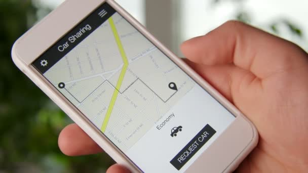 Man requests car and accepts high rates using car sharing application on smartphone