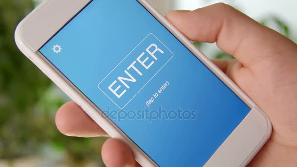 Search engine marketing concept application on the smartphone. Man uses mobile app.