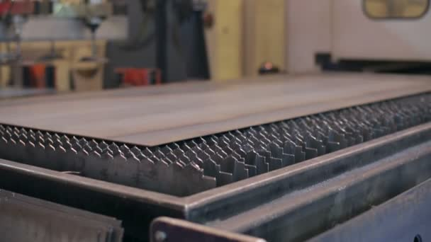 Sheet of metal on line of lasercutting at factory
