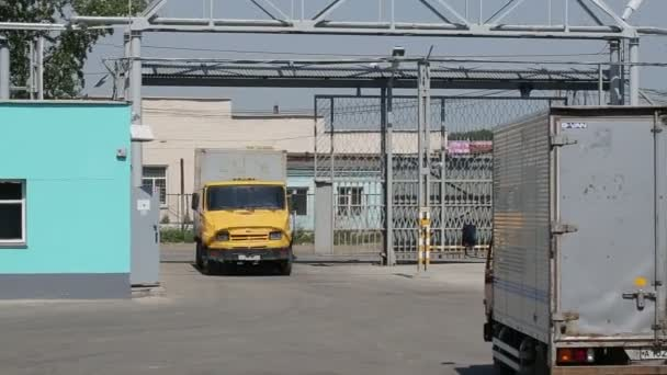Truck drives to transport organization for receive cargo