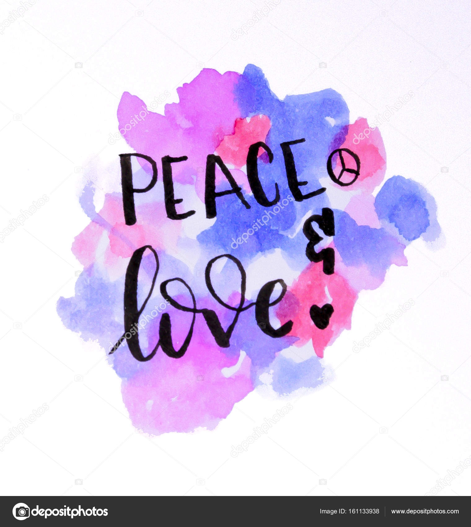watercolor design of peace and love hand lettering stock photo