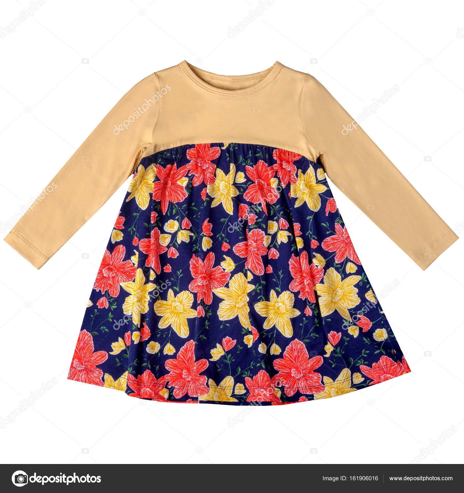 7952d82e9c3d Krásné dětské šaty pro dívky školního věku izolovaných na bílém pozadí —  Fotografie od ...