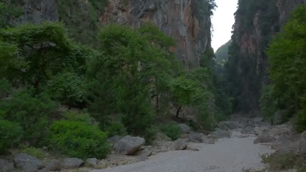 Canyon with high steep rocks near the river of the Gjipe, Albania