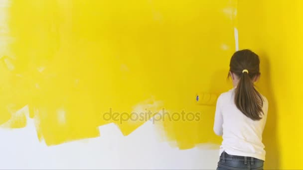 Funny Little Girl Gingerly Paints Walls Roller Room — Stock Video ...