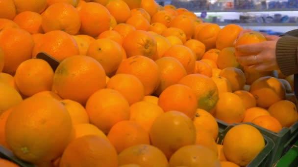 lány úgy dönt, friss narancs a boltban