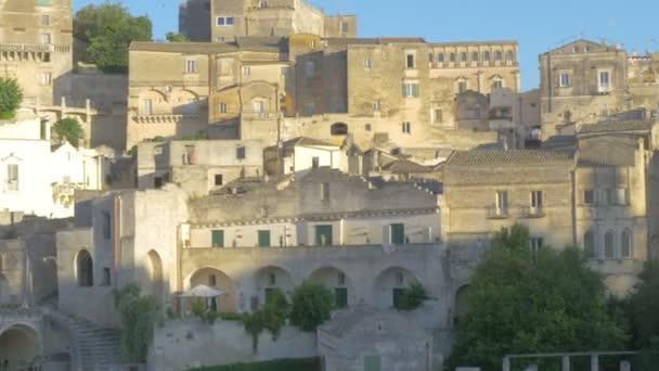 View of the historical buildings of the medieval city of Matera. Historic cities of Italy. European attractions. 4K