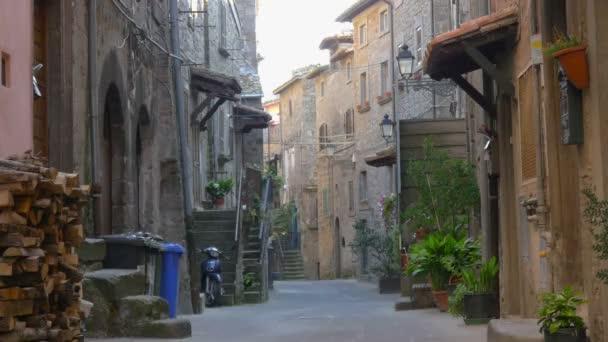 Scenic Italian Village Street. Historic medieval cities of Italy. Tuscany Italy. Europe