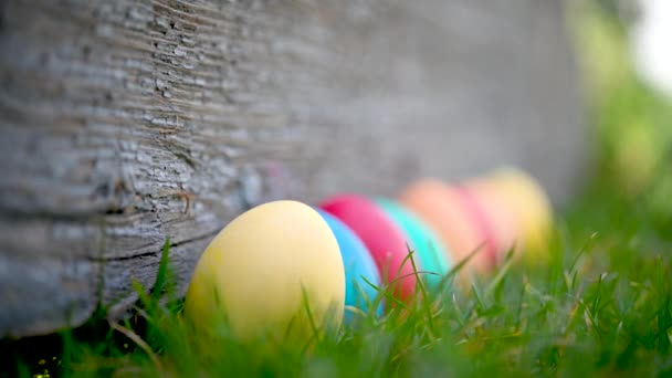 Childrens hand takes a colorful easter egg on the lawn. Easter Egg Hunt In Garden Easter concept background.