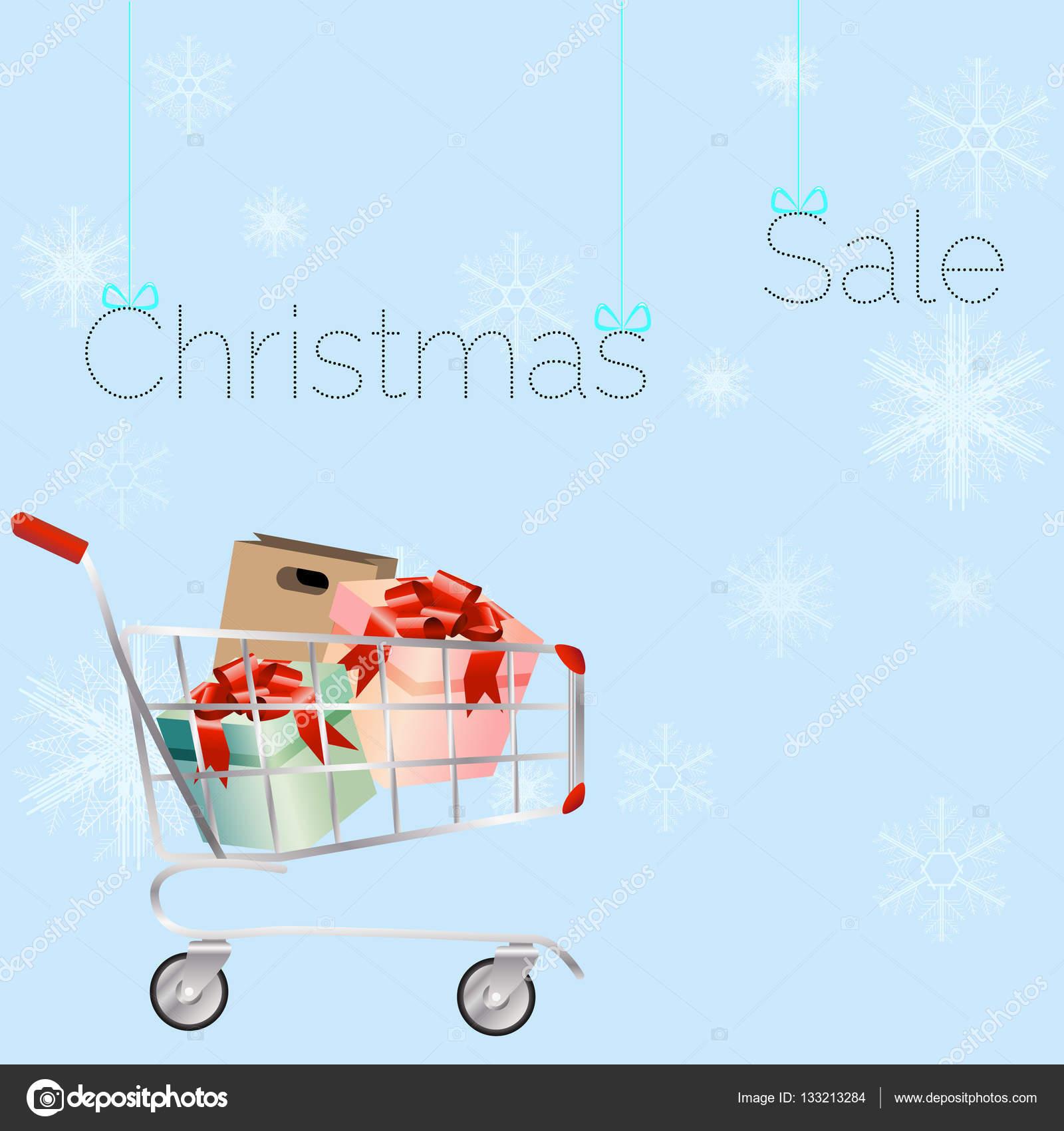 Korb mit Weihnachtsgeschenke. Ein zeitgenössischer Stil ...