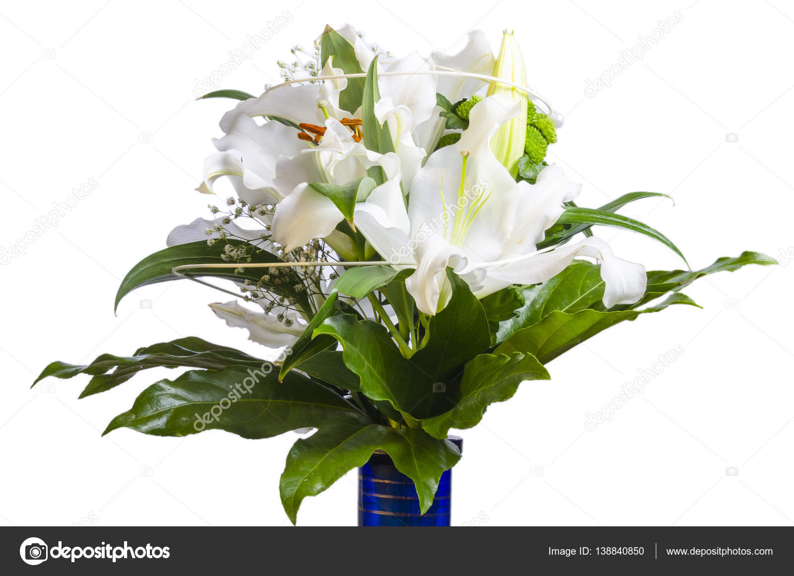 White flower bouquet arrange in blue vase — Stock Photo © Gleti ...