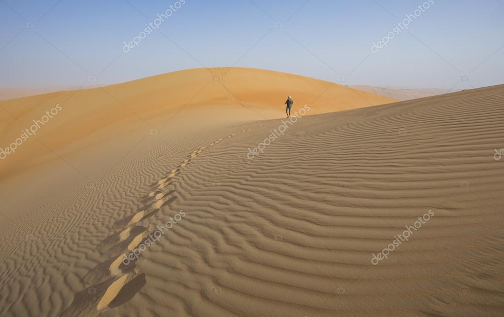 Man walking in a desert