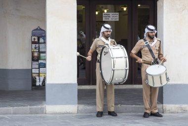 Qatar policemen doing daily march