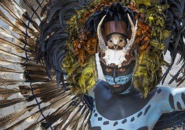 Man in Maya indian costume