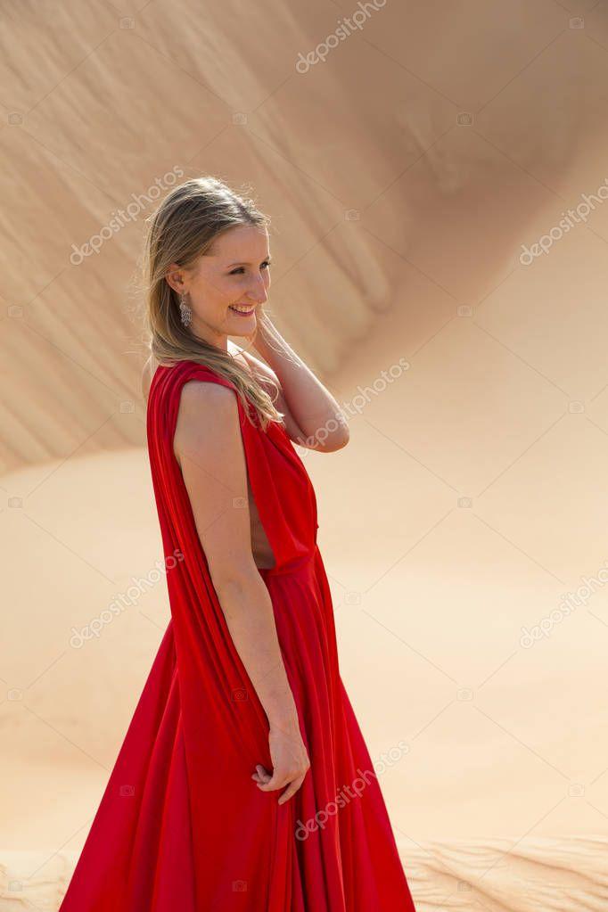 woman in a desert in Abu Dhabi