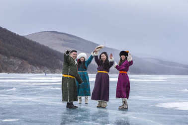 Hatgal, Mongolia, 3rd March 2018: mongolian young people  on a frozen lake Khuvsgul during a ice festival in winter