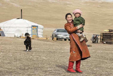 Hatgal, Mongolia, 3rd March 2018: mongolian kids in a steppe of northern Mongolia