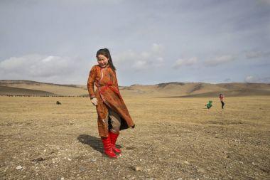 Hatgal, Mongolia, 2nd March 2018: mongolian girls having fun in a steppe