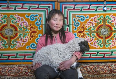 Hatgal, Mongolia, 2nd March 2018: mongolian girl inside her home ger with her pet baby sheep