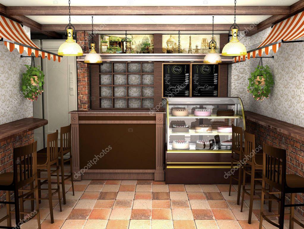3D rendering van een interieur van een café in de Franse stijl ...