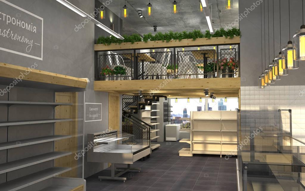Loft Einrichtung 3d visualisierung lebensmittelgeschäft mit einem café im inneren