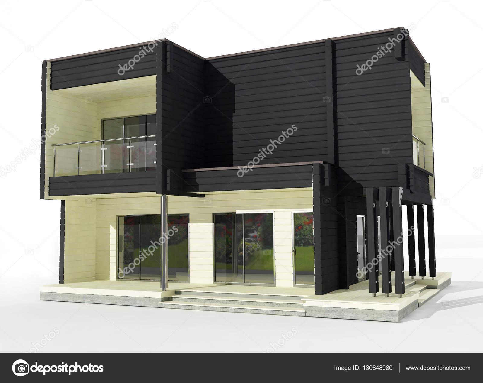 Casas 3d De Dos Pisos Modelo 3d De La Casa De Madera De Dos Pisos