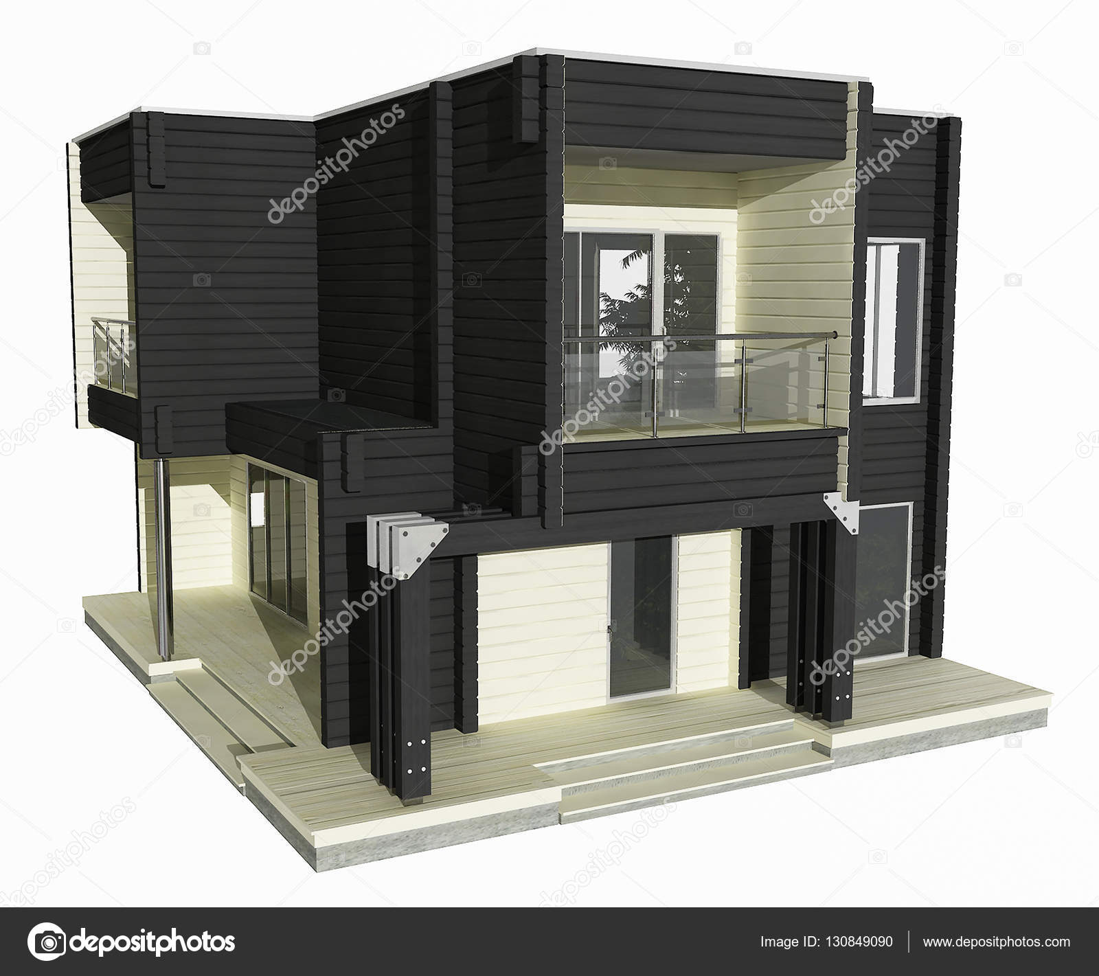 3d model of two story wooden house on a white background - Modelos de casas de dos pisos ...