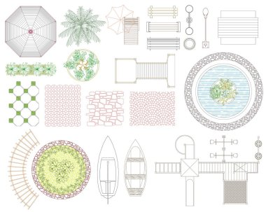 Graphic set of recreation and landscape elements. Top view. Vector illustration.Isolated on white background. clip art vector