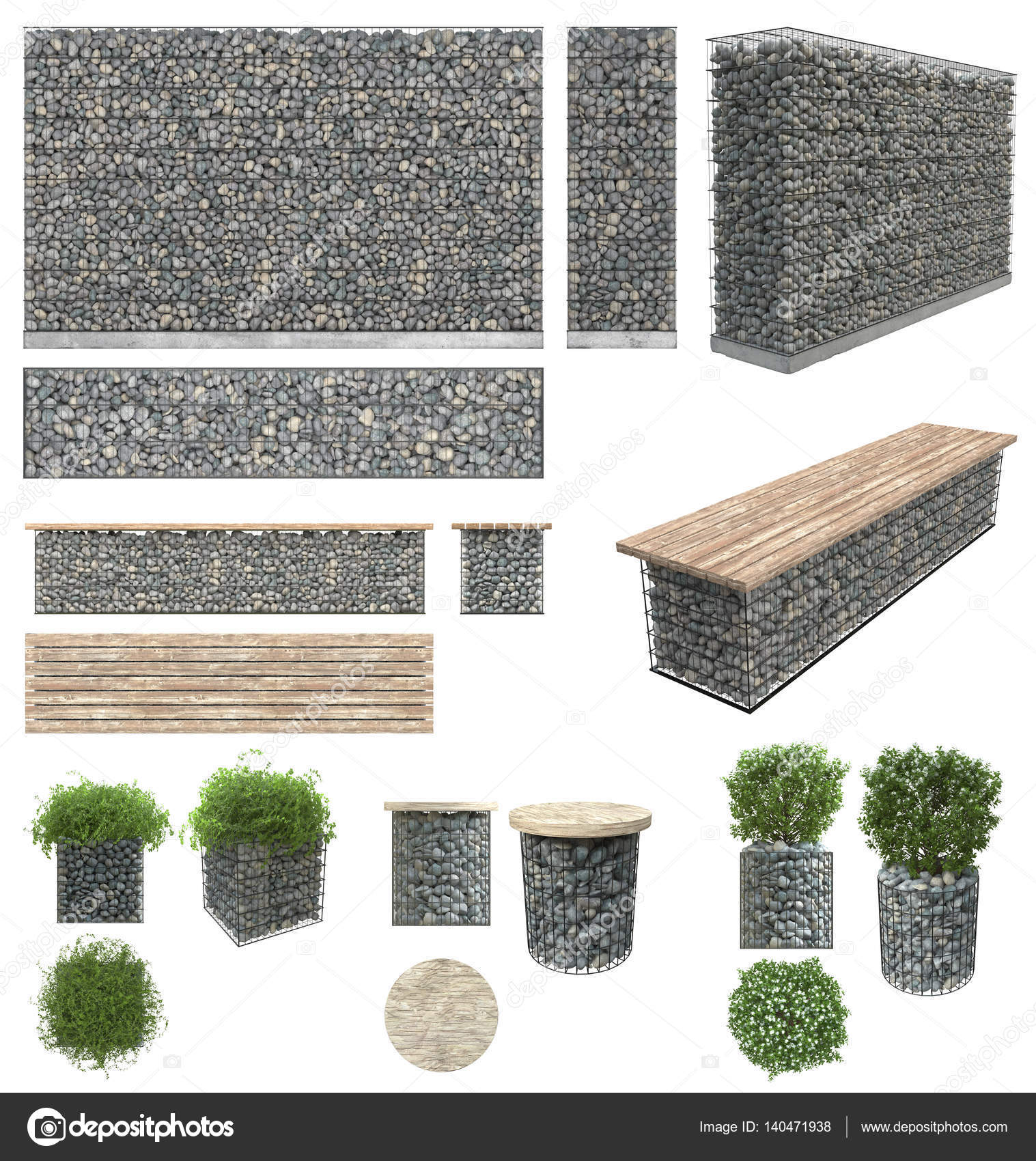 Gabion pierres en treillis m tallique mur banc pots for Table vue de haut