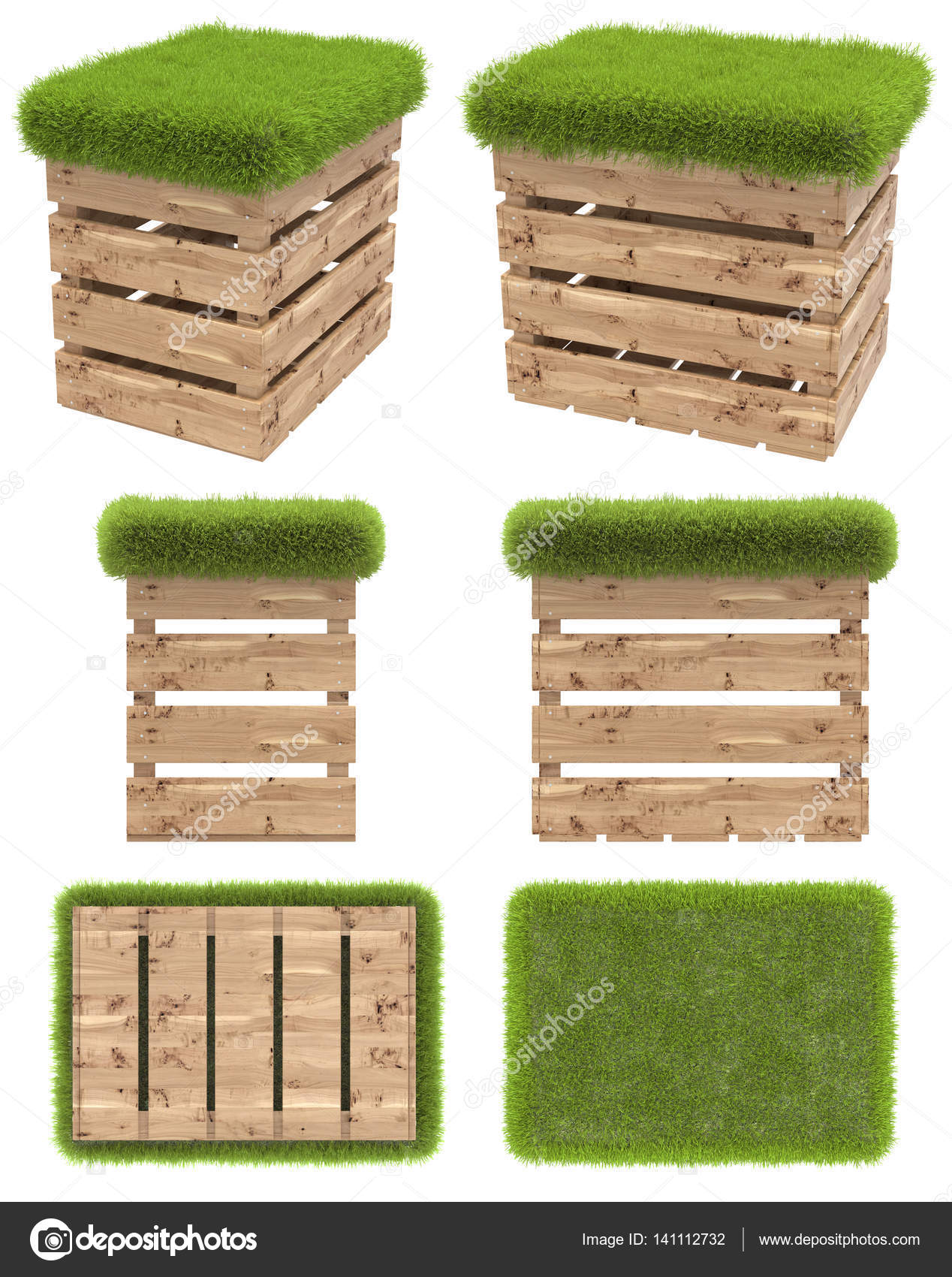 The Chair Of The Wooden Box Or Pallet With A Seat Of Grass. Garden Furniture.  Top View, Side View, Front View, Bottom View. Isolated On White Background.