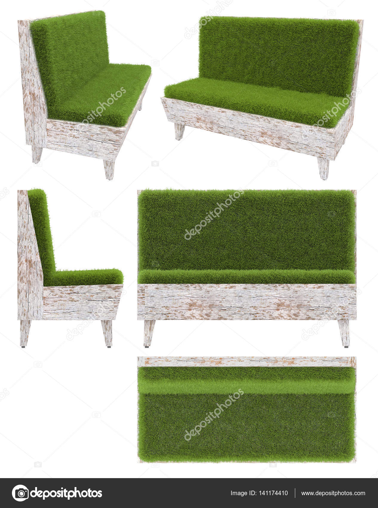 sofa in old wood with grass cover garden furniture top view side view - Garden Furniture Top View