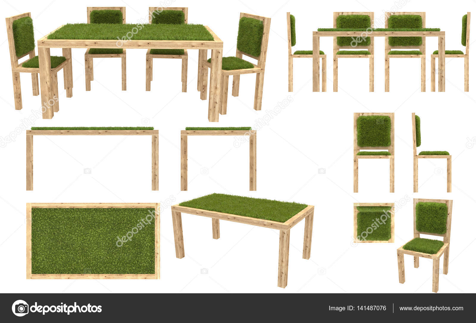 Wooden Table And Chairs With Grass Cover. Garden Furniture. Top View, Side  View