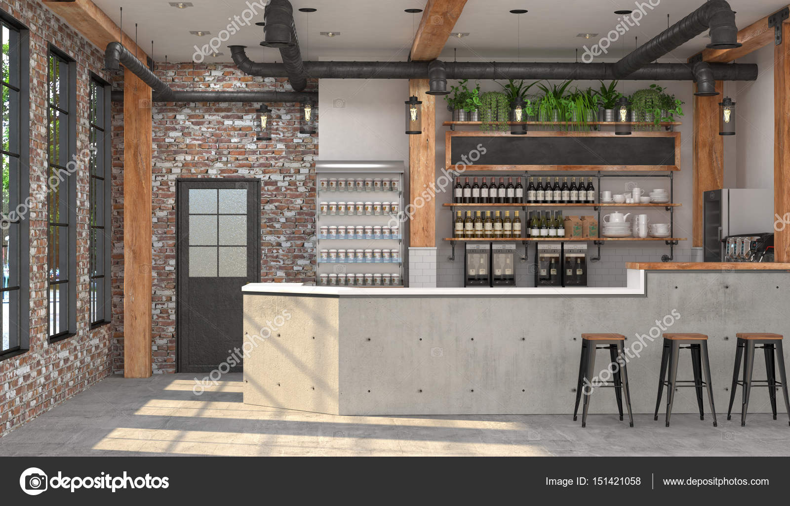 modern design of the bar in loft style 3d visualization of the