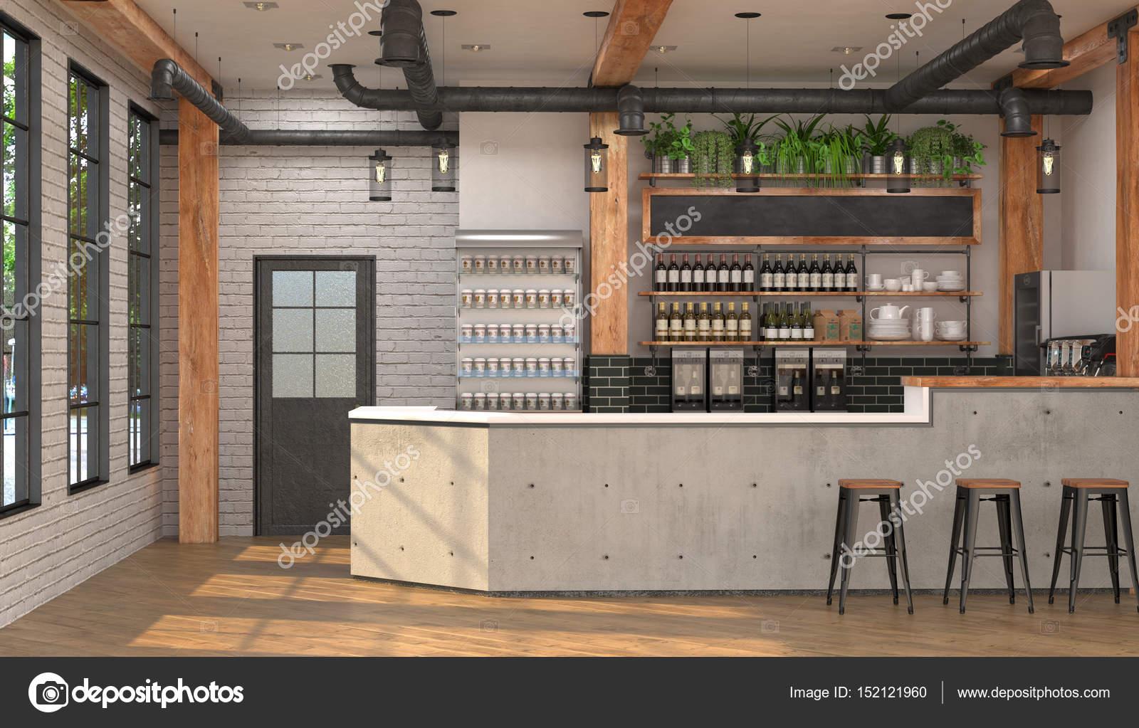 Design moderno del bar in stile loft visualizzazione 3d for Design moderno interni