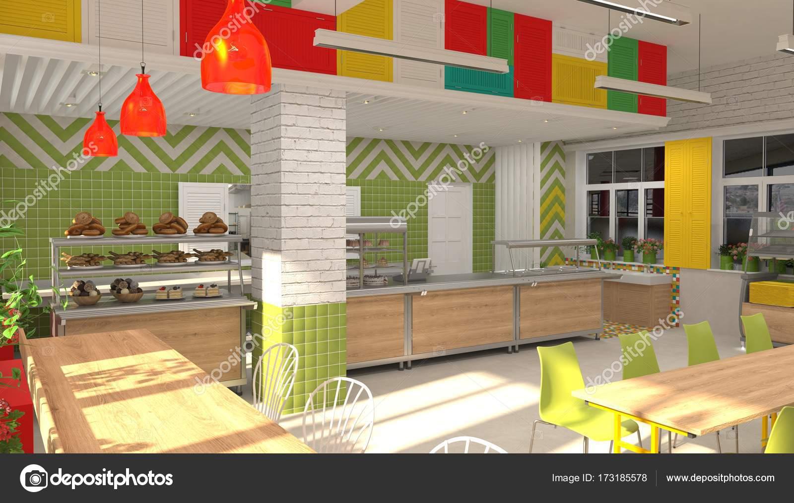 interieur van de school childrens kantine 3d visualisatie van eetzaal voor schoolkinderen stockfoto