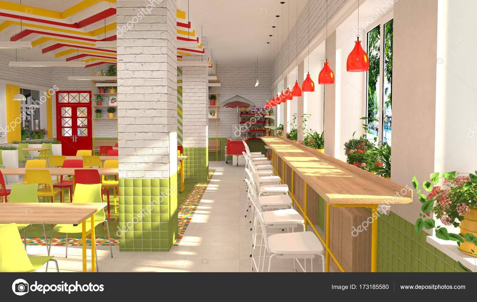 Interior da cantina da escola infantil visualiza o 3d da for Propuesta para una cantina escolar