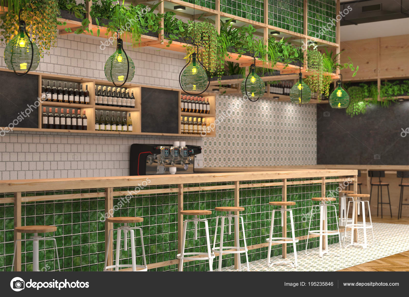 Style De Veranda Moderne modern design bar loft style green colors visualization