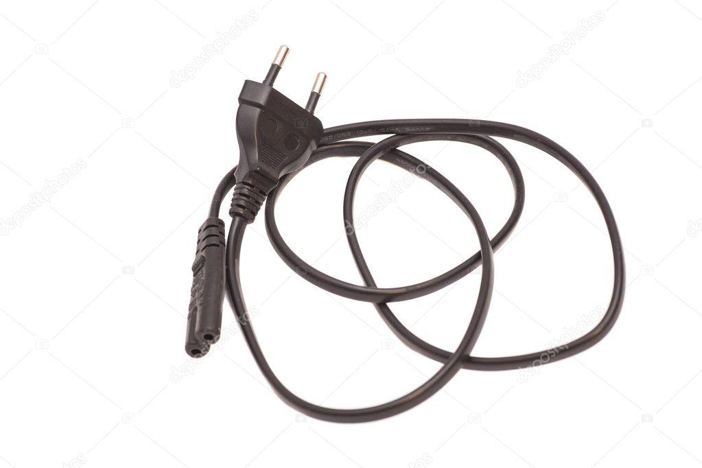 schwarz elektrische kabel, isoliert auf weiss — Stockfoto ...