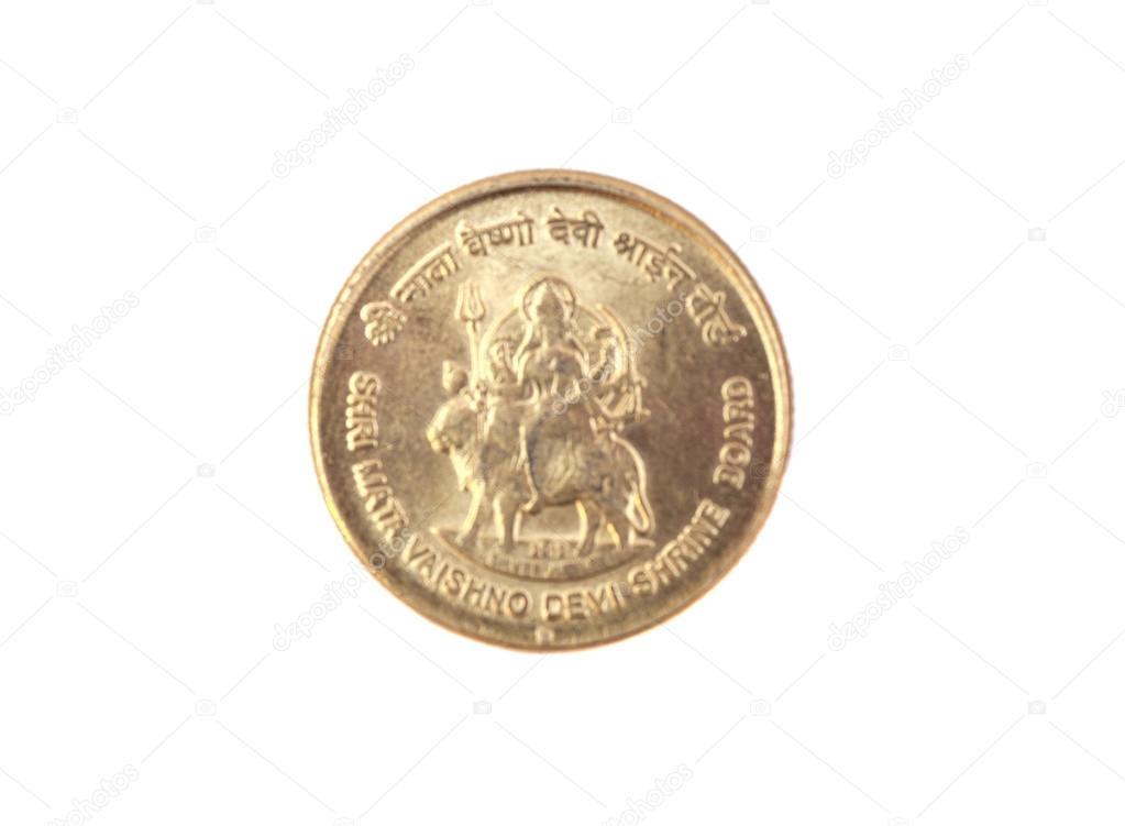 5 Indische Rupien Münzen Isolierten Auf Weißen Hintergrund