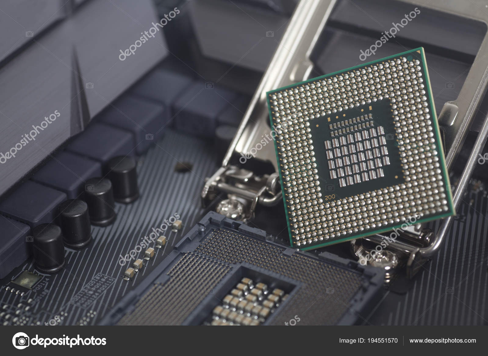 Intel LGA 1151 cpu socket on motherboard Computer PC with cpu processor —  Stock Photo