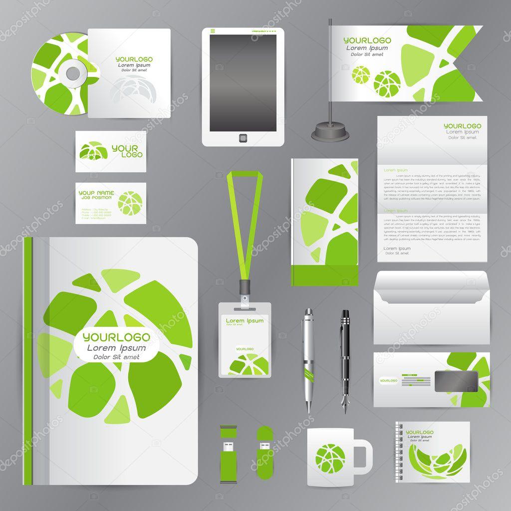 Plantilla de identidad blanca con verde círculo origami ...