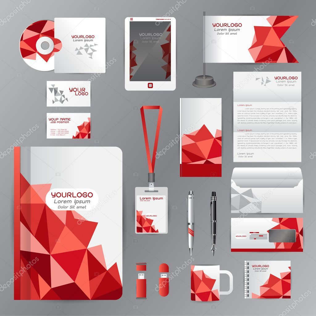 White identity template with red origami elements. Vector compan ...