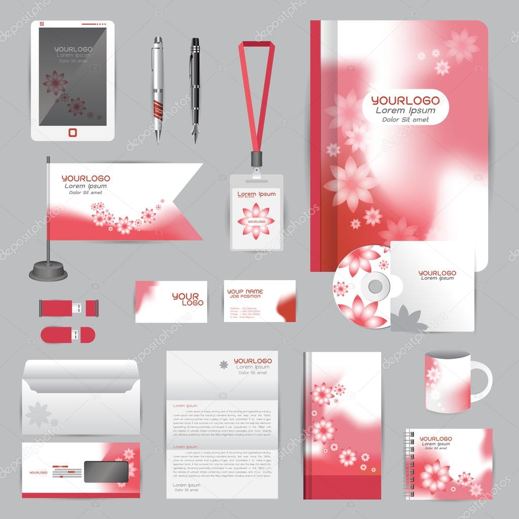 White identity template with red Flower origami elements. Vector ...